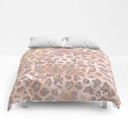 Rosegold Blush Leopard Glitter Comforters