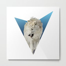 Low Poly Wolf Metal Print