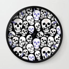 Small Tiled Skull Pattern Wall Clock