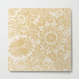 Floral in Yellow Metal Print