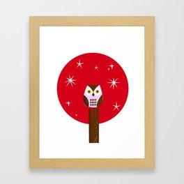 Owl ( alternative red version) Framed Art Print