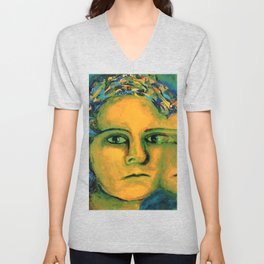 Anticipation - Abstract Gold and Emerald Goddess Unisex V-Neck