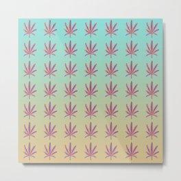 Rainbow Marijuana Leaf with Gradient Metal Print