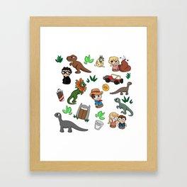 Jurassic Park Bits Framed Art Print