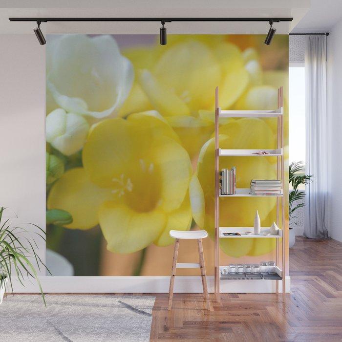 Happy yellow fresias Wall Mural