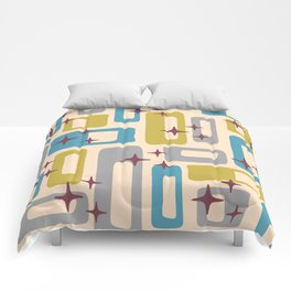 Retro Mid Century Modern Abstract Pattern 924 Turquoise Gray Olive Comforters