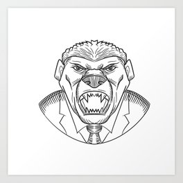 Angry Honey Badger Wearing Coat and Tie Drawing Art Print