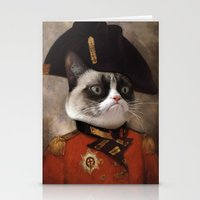 general Stationery Cards featuring Angry cat. Grumpy General Cat.  by UiNi
