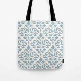 Scroll Damask Big Pattern Blue on Cream Tote Bag