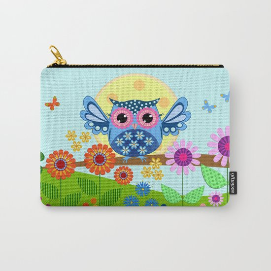 Spring owl in a Flower garden Carry-All Pouch