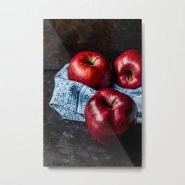 Three Red Apples Metal Print