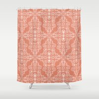 peach Shower Curtains featuring Peach by katharine stackhouse