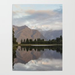 New Zealand Lake at sunset Poster