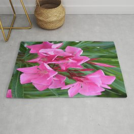 Pink Oleander Bouquet Closeup  Rug