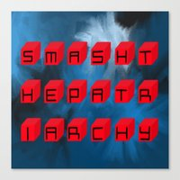 patriarchy Canvas Prints featuring Smash The Patriarchy by pandaliondeath