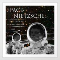 nietzsche Art Prints featuring Space Nietzsche by Red Barchetta