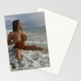0093-SS Beautiful Naked Woman Nude Beach Sand Surf Big Breasts Long Black Hair Sexy Erotic Art Stationery Cards
