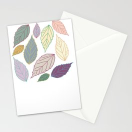 Assorted soft bright colors leaves Stationery Cards