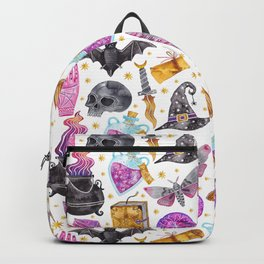 Pink gold black watercolor hand painted halloween pattern Backpack