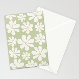 Floral Daisy Pattern - Green Stationery Cards