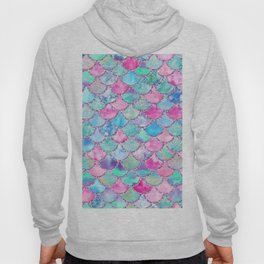Colorful Pink and Blue Watercolor Trendy Glitter Mermaid Scales Hoody