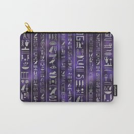 Silver Egyptian hieroglyphics pattern Carry-All Pouch