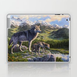 Mother Gray Wolf and Pups River Valley Laptop & iPad Skin