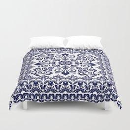 Oriental Damask blue on white Duvet Cover
