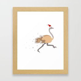 Christmas Ostrich Santa Ugly Kwanzaa gift Framed Art Print