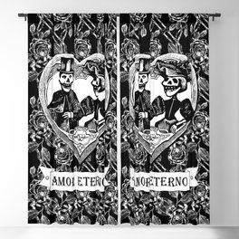 Amor Eterno | Eternal Love | Calavera Couple | Black and White | Blackout Curtain