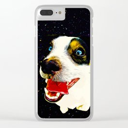 jack russell terrier dog space crazy va Clear iPhone Case