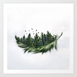 Earth Feather • Green Feather (horizontal) Art Print