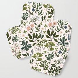 Herbarium ~ vintage inspired botanical art print ~ white Coaster