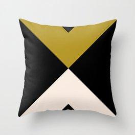 Minimal X Dark Olive Throw Pillow