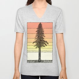 Coastal Redwood Sunset Sketch Unisex V-Neck