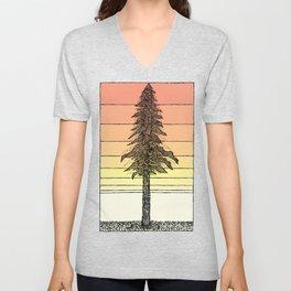 Coastal Redwood Sunset Sketch Unisex V-Neck