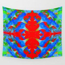 BLUE MORNING GLORYS RED QUARTREFOIL ART Wall Tapestry