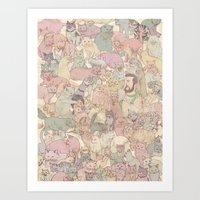 kozyndan Art Prints featuring Self  Portrait with Kitties by kozyndan