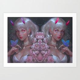 White Goth Twins Art Print