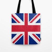 british flag Tote Bags featuring British flag mosaic by Zora Zora
