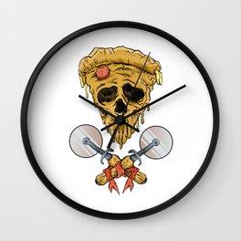 skull pizza slice Wall Clock