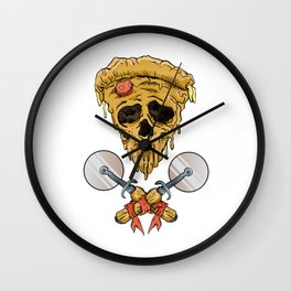 skull pizza slice Wall Clock