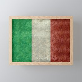 Italian flag, vintage retro style Framed Mini Art Print