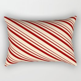 Bisque & Dark Red Colored Lines/Stripes Pattern Rectangular Pillow