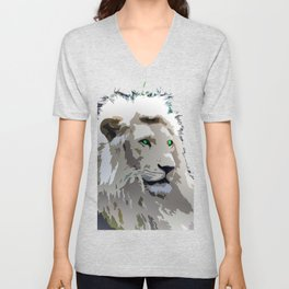 White Lion Unisex V-Neck