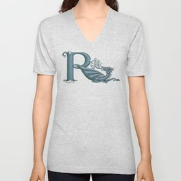 """Dragon Letter R, from """"Dracoserific"""", a font full of Dragons Unisex V-Neck"""