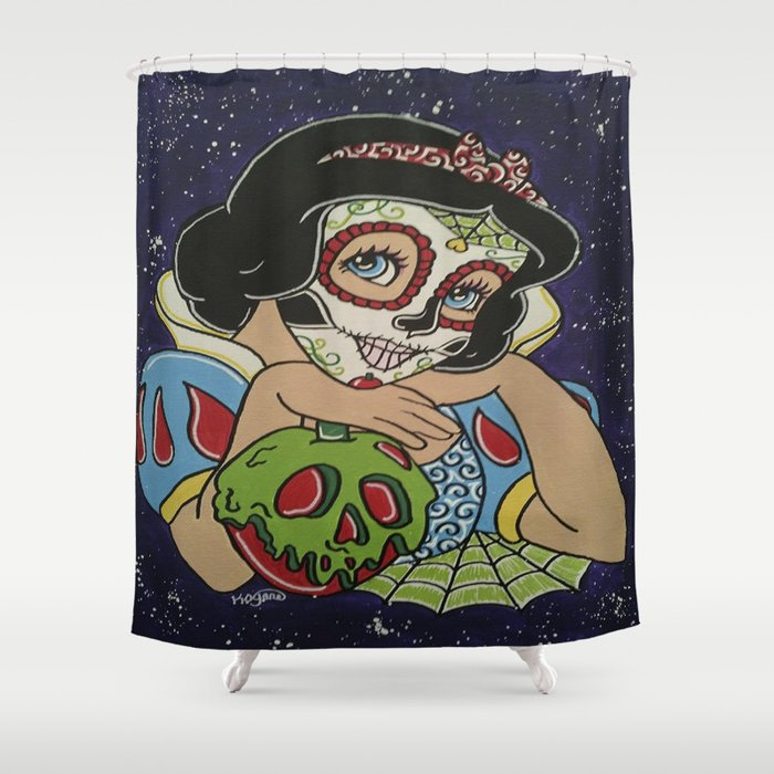 Snow White With Apple Sugar Skull Shower Curtain