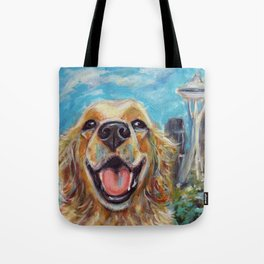 Golden Retriever in Seattle Tote Bag