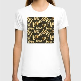 LOVE LOVE LOVE Gold Pattern on Black Suede T-shirt