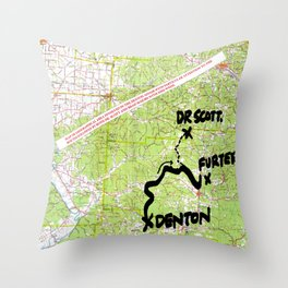 Map of Denton, USA Throw Pillow